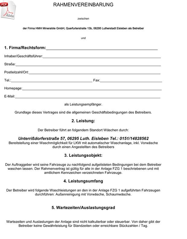 Rahmenvereinbarung Wäsche