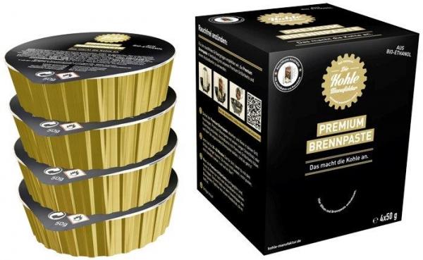 Premium Grillbriketts gr.Tüte + Brennpaste + Edelstahl Anzündkamin