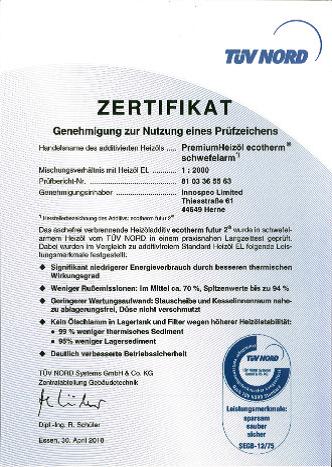 TÜV-Nord Zertifikat