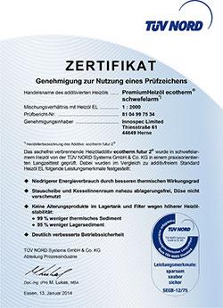 Zertifikat Premiumheizoel ecotherm