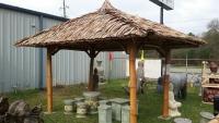 Bambus Pavillon, Gazebo 5 x 5 m ohne Seitenteile, Tisch u. Bänke