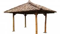 Bambus Pavillon, Gazebo 4 x 4 m ohne Seitenteile, Tisch u. Bänke