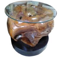 Tisch  Manado , Teakholzwurzel geschliffen und lackiert,  Durchmesser 50 cm x Höhe 45 cm