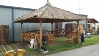 Bambus Pavillon, Gazebo 5 x 5 m mit Seitenteilen, ohne Tisch u. Bänke