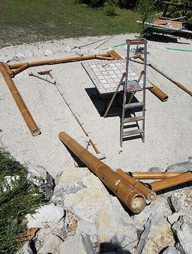 Balipavillon Aufbau Foto Schritt 1