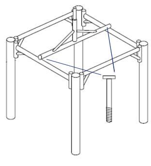 Balipavillon Aufbau Skizze Schritt 4