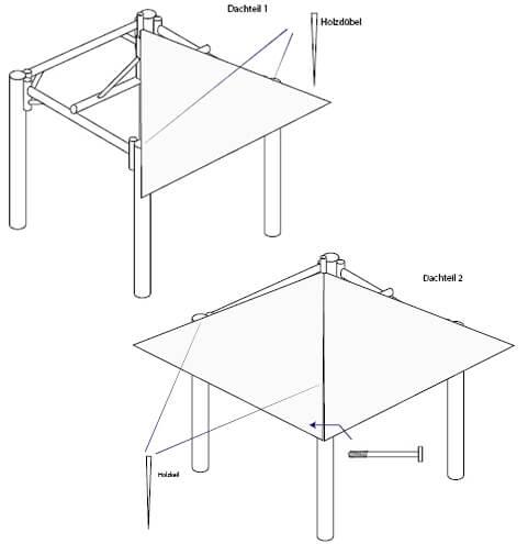 Balipavillon Aufbau Skizze Schritt 6