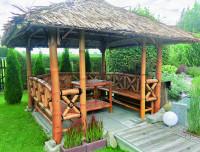 Bambus Pavillon, Gazebo 3,70 x 3,70 m mit Seitenteilen u. Eingang