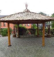 Bambus Pavillon, Gazebo 4,20 x 3,20 m ohne Seitenteile, Tisch u. Bänke