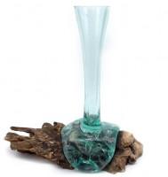 Vase Glas/Teak 30 - 40cm