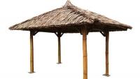 Bambus Pavillon, Gazebo 3,5 x 3,5 m ohne Seitenteile, Tisch u. Bänke