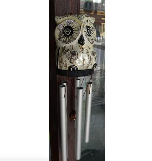 Windspiel Metall Eule 30cm