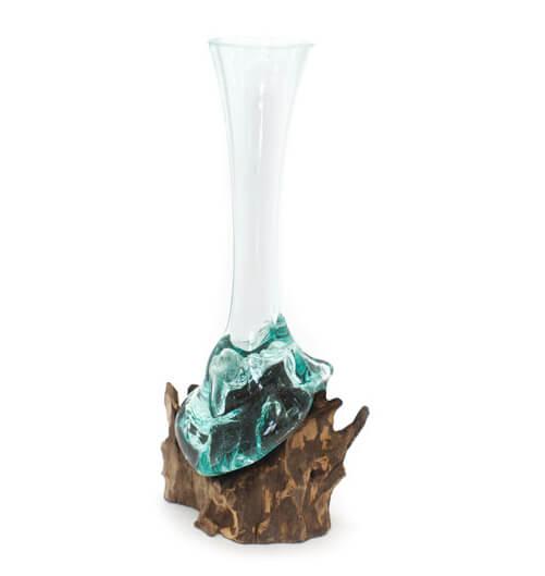 Vase Glas/Teak 40 - 50cm