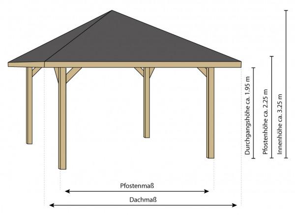 Bambus Pavillon, Gazebo 3,70 x 3,70 m mit Seitenteilen, Durchgang, Tisch u. Bänken
