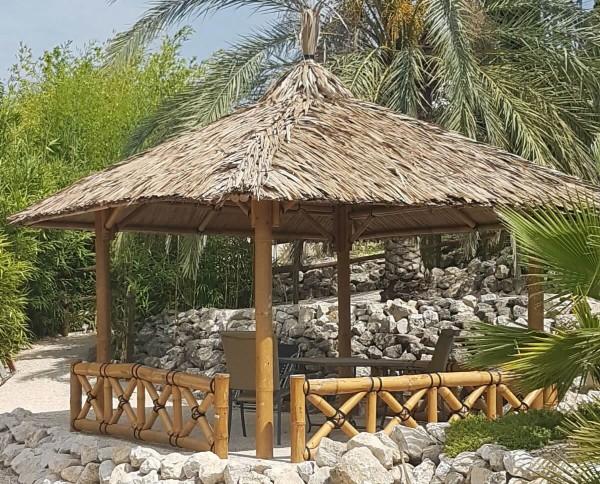 Bambus Pavillon, Gazebo 3,70 x 3,70 m mit Seitenteilen