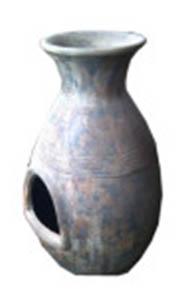 Terrassenofen Satui aus Terrakotta, 100 cm
