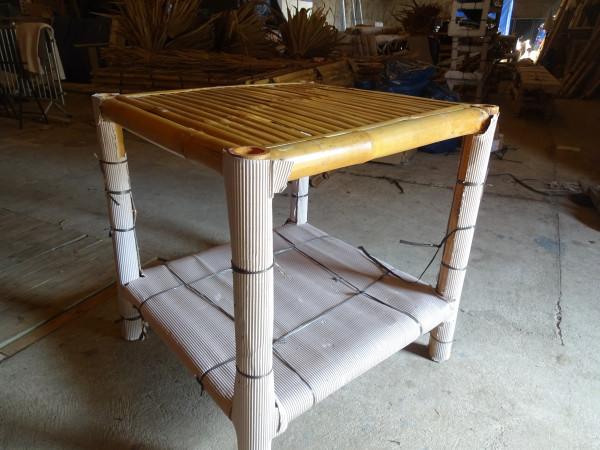 Bambus Pavillon, Gazebo 3,70 x 3,70 m mit Seitenteilen, Tisch u. Bänken