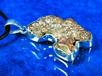 Kupfer Nugget Anhänger in 925er Silber