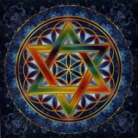 Aufkleber Blume des Lebens mit Hexagramm