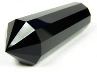 Schwarzer Obsidian Vogel Cut Kristall 12-seitig XL