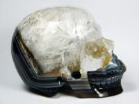 Achat Kristallschädel mit Amethyst