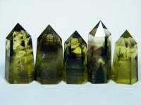 Phantom-Citrin Kristall poliert