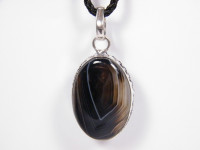 Schwarzer Onyx Anhänger in Silber