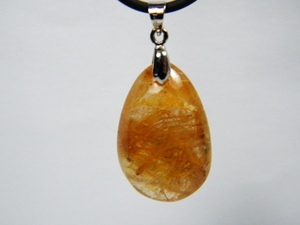 Bergkristall Tropfen Anhänger mit Goldrutil
