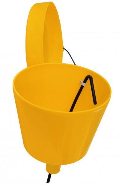 Trichter KT 275 gelb m. Deckel ohne Auslauf m. Anschluss G2