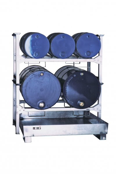 Fassregal mit GFK-Auffangwanne Typ 580 (3 x 60l und 2 x 200l)