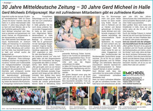 30 Jahre Mitteldeutsche Zeitung – 30 Jahre Gerd Micheel in Halle