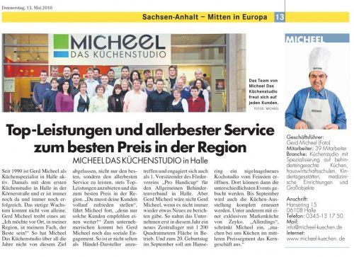 Mitteldeutsche Zeitung - Top Leistung & allerbester Service Mai 2010