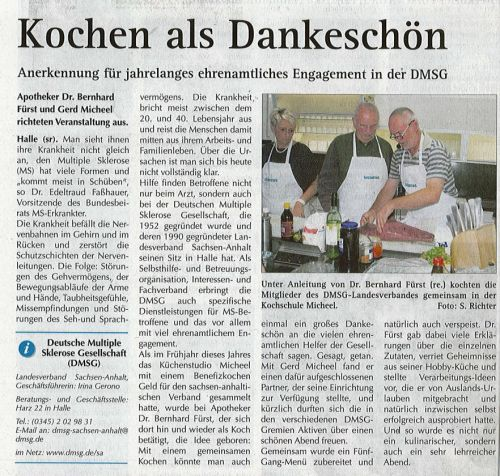 Pressebericht 'Kochen als Dankeschön'