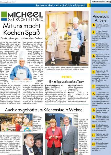 MZ Sachsen-Anhalt wirtschaftlich Erfolgreich Micheel Das Küchenstudio Mai 2007
