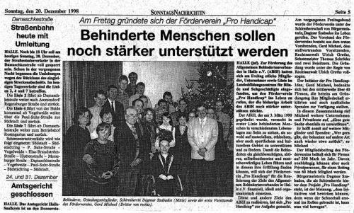 Pressebericht Sonntagsnachrichten Pro Handicap Dezember 1998