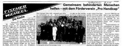 Pressebericht Saalekreiskurier Pro Handicap Dezember 1998