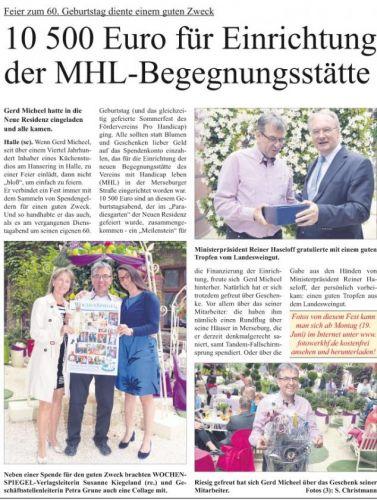 60. Geburtstag von Gerd Micheel und Sommerfest des Fördervereins Pro Handicap e.V.