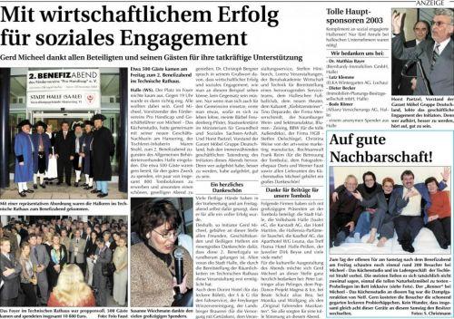 Pressebericht Wochenspiegel  2. Benefizabend November 2003