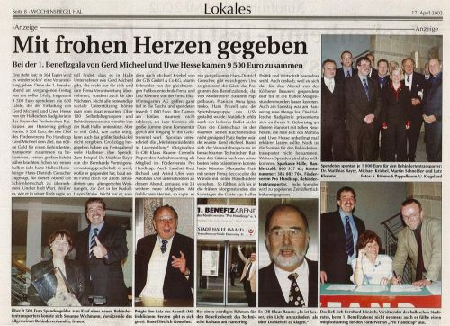 Pressebericht Wochenspiegel 1. Benefizgala April 2002