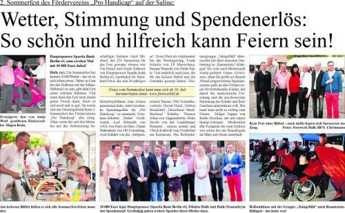 Wochenspiegel Nachbericht 2. Sommerfest 'Pro Handicap' 2012