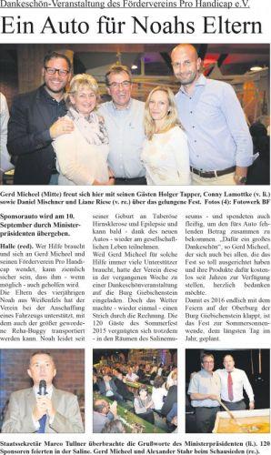 Wochenspiegel Nachbericht Sommerfest 'Pro Handicap' 2015