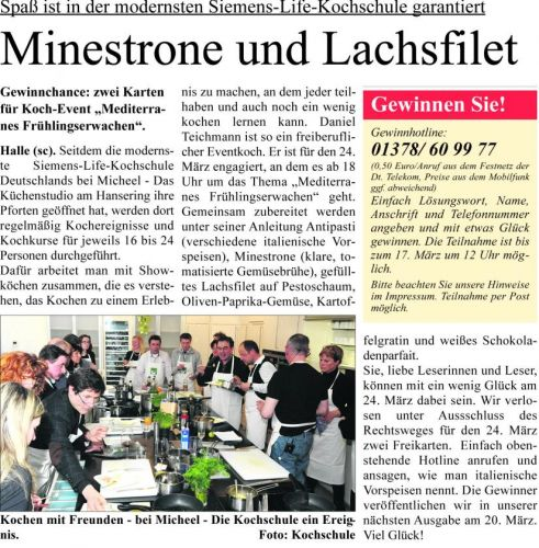 Wochenspiegel Spass in der modernsten Siemens-Life Kochschule