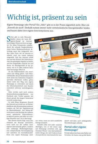 Brennstoffspiegel + Mineralölrundschau 11/2017: Online präsent sein