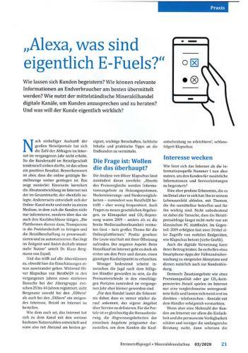 Brennstoffspiegel + Mineralölrundschau 03/2020: Alexa - Sprachassistenten und der Energiemarkt