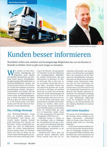Brennstoffspiegel + Mineralölrundschau 05/2017: Onlinewerbung praktisch